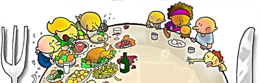 Global sult. Omkring et bord sidder nogle der spiser, og andre der sulter.