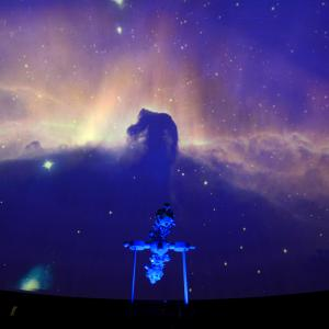 Hestehovedtågen vist i planetariet. Foto: Erik Balle.