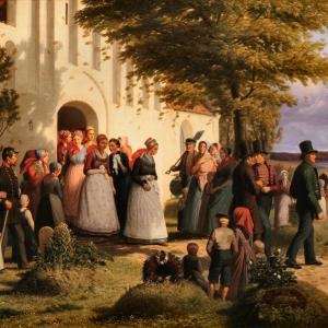 Brudefærd fra det nordlige Sjælland, hvor den hjemkomne soldat finder sin Forlovede som en andens brud (udsnit), Jørgen Sonne, 1856