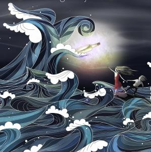 Tegning af bølge, der er på vej ind over to børn